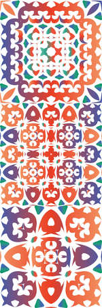 Traditional ornate mexican talavera. Minimal design. Collection of vector seamless patterns. Red abstract backgrounds for web backdrop, print, pillows, surface texture, wallpaper, towels.