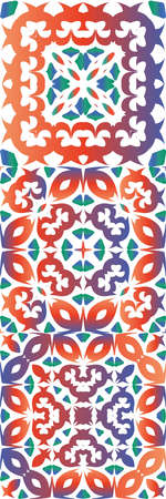 Antique ornate tiles talavera mexico. Fashionable design. Set of vector seamless patterns. Red ethnic backgrounds for T-shirts, scrapbooking, linens, smartphone cases or bags.