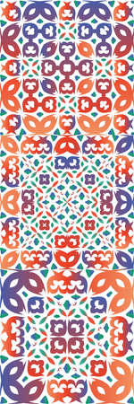 Ornamental talavera mexico tiles decor. Stylish design. Kit of vector seamless patterns. Red gorgeous flower folk prints for linens, smartphone cases, scrapbooking, bags or T-shirts. Çizim