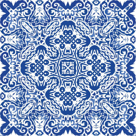 Ethnic ceramic tile in portuguese azulejo. Fashionable design. Vector seamless pattern theme. Blue vintage ornament for surface texture, towels, pillows, wallpaper, print, web background.