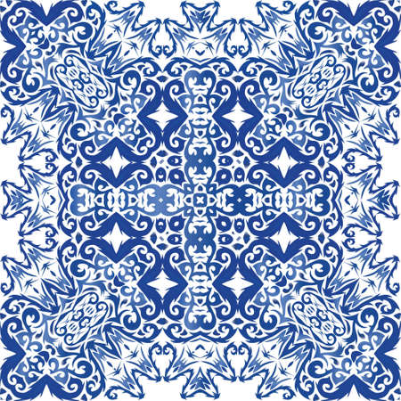 Antique azulejo tiles patchwork. Graphic design. Vector seamless pattern watercolor. Blue spain and portuguese decor for bags, smartphone cases, T-shirts, linens or scrapbooking.