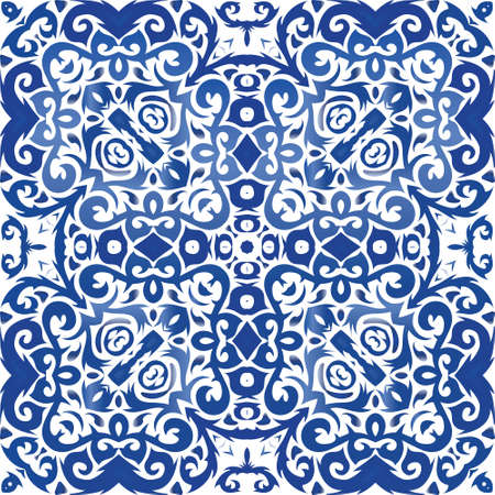 Decorative color ceramic azulejo tiles. Kitchen design. Vector seamless pattern collage. Blue folk ethnic ornament for print, web background, surface texture, towels, pillows, wallpaper. Illusztráció