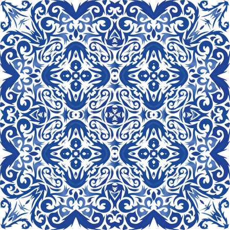 Portuguese vintage azulejo tiles. Geometric design. Vector seamless pattern elements. Blue antique background for pillows, print, wallpaper, web backdrop, towels, surface texture. Illusztráció