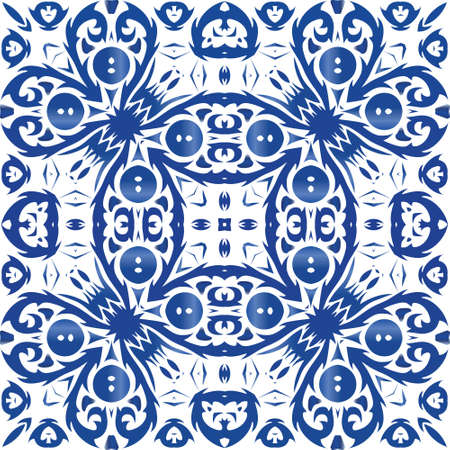 Ceramic tiles azulejo portugal. Universal design. Vector seamless pattern trellis. Blue ethnic background for T-shirts, scrapbooking, linens, smartphone cases or bags.
