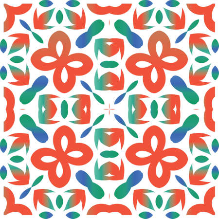 Ethnic ceramic tile in mexican talavera. Vector seamless pattern illustration. Stylish design. Red vintage ornament for surface texture, towels, pillows, wallpaper, print, web background.