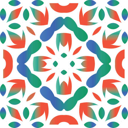 Mexican vintage talavera tiles. Graphic design. Vector seamless pattern frame. Red antique background for pillows, print, wallpaper, web backdrop, towels, surface texture. Çizim