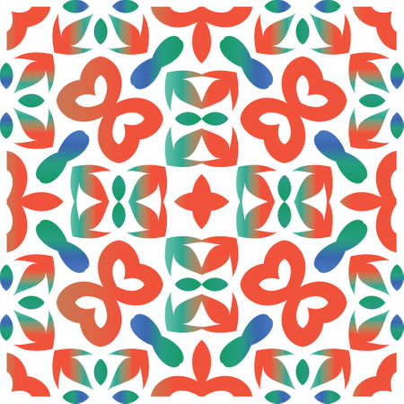 Mexican ornamental talavera ceramic. Vector seamless pattern collage. Stylish design. Red vintage backdrop for wallpaper, web background, towels, print, surface texture, pillows.