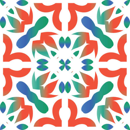 Ornamental talavera mexico tiles decor. Vector seamless pattern elements. Minimal design. Red gorgeous flower folk print for linens, smartphone cases, scrapbooking, bags or T-shirts. Çizim