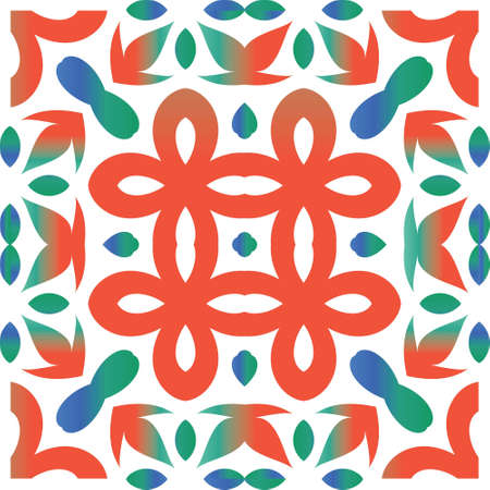 Antique talavera tiles patchwork. Geometric design. Vector seamless pattern flyer. Red mexican ornamental  decor for bags, smartphone cases, T-shirts, linens or scrapbooking.
