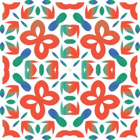 Antique talavera tiles patchwork. Vector seamless pattern texture. Hand drawn design. Red mexican ornamental decor for bags, smartphone cases, T-shirts, linens or scrapbooking. Çizim