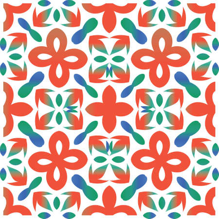 Mexican ornamental talavera ceramic. Vector seamless pattern theme. Graphic design. Red vintage backdrop for wallpaper, web background, towels, print, surface texture, pillows. Çizim