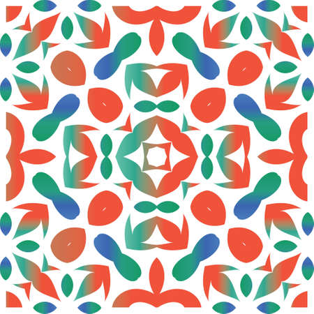 Decorative color ceramic talavera tiles. Vector seamless pattern watercolor. Stylish design. Red folk ethnic ornament for print, web background, surface texture, towels, pillows, wallpaper.