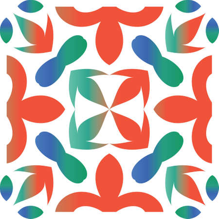 Decorative color ceramic talavera tiles. Universal design. Vector seamless pattern trellis. Red folk ethnic ornament for print, web background, surface texture, towels, pillows, wallpaper. Çizim