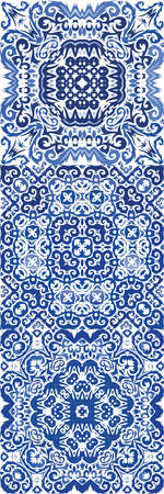 Ceramic tiles azulejo portugal. Collection of vector seamless patterns. Fashionable design. Blue ethnic backgrounds for T-shirts, scrapbooking, linens, smartphone cases or bags. Illusztráció