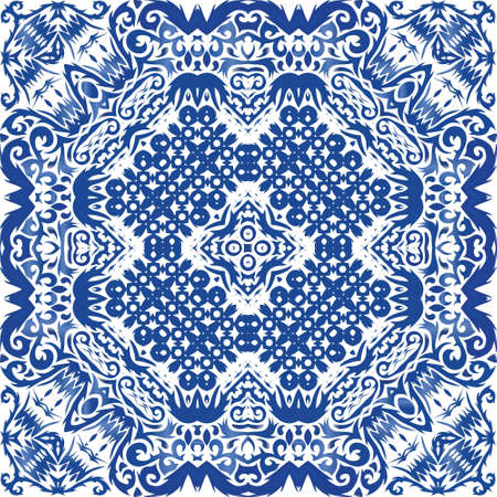 Portuguese vintage azulejo tiles. Fashionable design. Vector seamless pattern concept. Blue antique background for pillows, print, wallpaper, web backdrop, towels, surface texture.