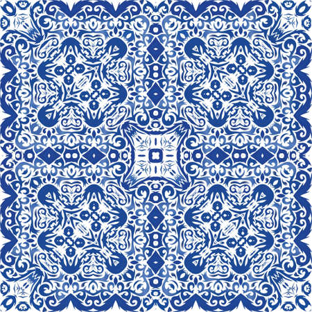 Portuguese ornamental azulejo ceramic. Kitchen design. Vector seamless pattern texture. Blue vintage backdrop for wallpaper, web background, towels, print, surface texture, pillows.