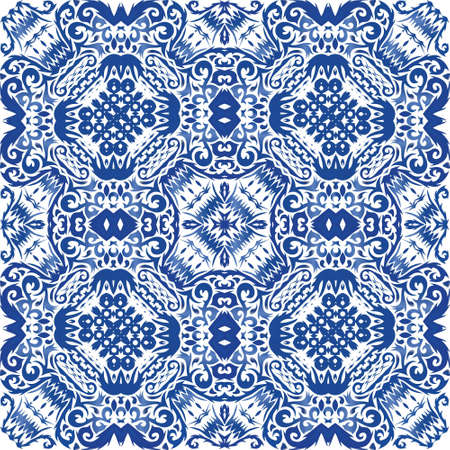 Antique portuguese azulejo ceramic. Graphic design. Vector seamless pattern illustration. Blue floral and abstract decor for scrapbooking, smartphone cases, T-shirts, bags or linens.