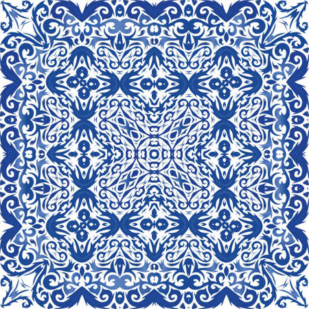 Ethnic ceramic tile in portuguese azulejo. Vector seamless pattern texture. Bathroom design. Blue vintage ornament for surface texture, towels, pillows, wallpaper, print, web background. Illusztráció