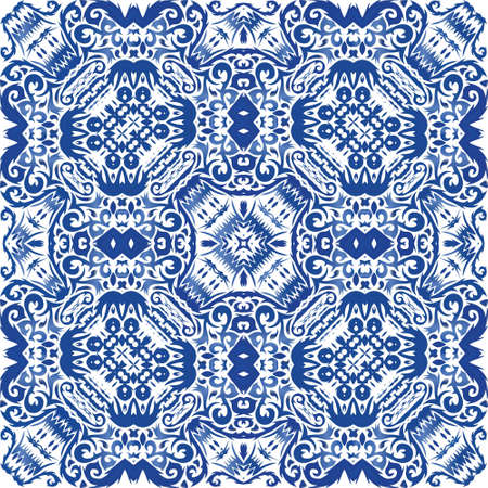 Portuguese vintage azulejo tiles. Bathroom design. Vector seamless pattern poster. Blue antique background for pillows, print, wallpaper, web backdrop, towels, surface texture.