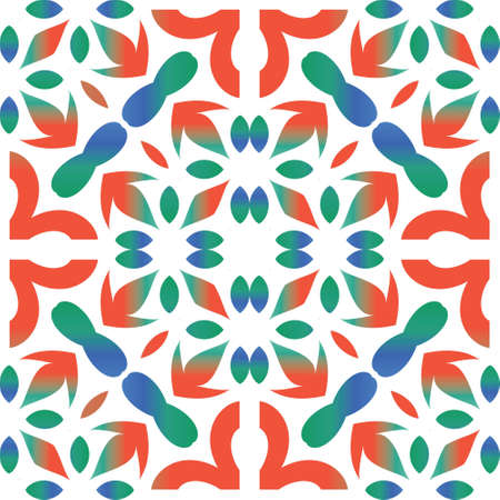 Mexican vintage talavera tiles. Vector seamless pattern concept. Geometric design. Red antique background for pillows, print, wallpaper, web backdrop, towels, surface texture.