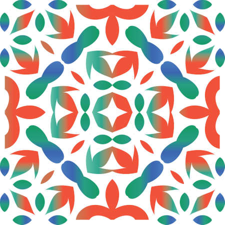 Mexican vintage talavera tiles. Vector seamless pattern flyer. Modern design. Red antique background for pillows, print, wallpaper, web backdrop, towels, surface texture. Çizim