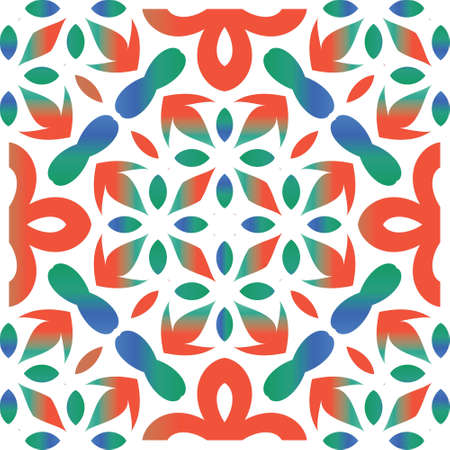 Antique mexican talavera ceramic. Vector seamless pattern collage. Colored design. Red floral and abstract decor for scrapbooking, smartphone cases, T-shirts, bags or linens.