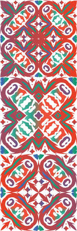 Ethnic ceramic tiles in mexican talavera. Minimal design. Kit of vector seamless patterns. Red vintage ornaments for surface texture, towels, pillows, wallpaper, print, web background.