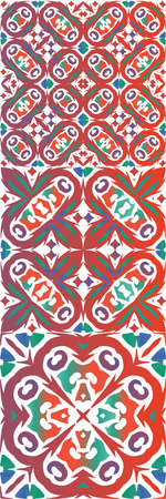 Decorative color ceramic talavera tiles. Creative design. Set of vector seamless patterns. Red folk ethnic ornaments for print, web background, surface texture, towels, pillows, wallpaper. Çizim