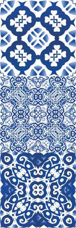 Antique azulejo tiles patchworks. Set of vector seamless patterns. Fashionable design. Blue spain and portuguese decor for bags, smartphone cases, T-shirts, linens or scrapbooking. Illusztráció