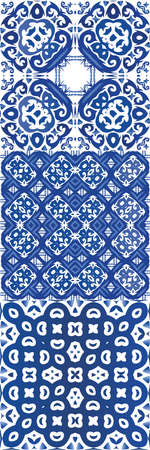Ornamental azulejo portugal tiles decor. Modern design. Set of vector seamless patterns. Blue gorgeous flower folk prints for linens, smartphone cases, scrapbooking, bags or T-shirts.