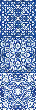Portuguese ornamental azulejo ceramic. Set of vector seamless patterns. Bathroom design. Blue vintage backdrops for wallpaper, web background, towels, print, surface texture, pillows.