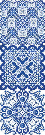 Antique azulejo tiles patchworks. Universal design. Set of vector seamless patterns. Blue spain and portuguese decor for bags, smartphone cases, T-shirts, linens or scrapbooking.