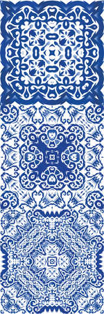 Ornamental azulejo portugal tiles decor. Universal design. Collection of vector seamless patterns. Blue gorgeous flower folk prints for linens, smartphone cases, scrapbooking, bags or T-shirts. Illusztráció