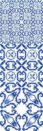 Ceramic tiles azulejo portugal. Modern design. Collection of vector seamless patterns. Blue ethnic backgrounds for T-shirts, scrapbooking, linens, smartphone cases or bags. Illusztráció
