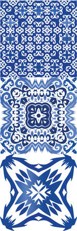 Ethnic ceramic tiles in portuguese azulejo. Kit of vector seamless patterns. Modern design. Blue vintage ornaments for surface texture, towels, pillows, wallpaper, print, web background.