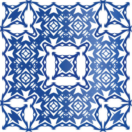 Ethnic ceramic tile in portuguese azulejo. Minimal design. Vector seamless pattern poster. Blue vintage ornament for surface texture, towels, pillows, wallpaper, print, web background.