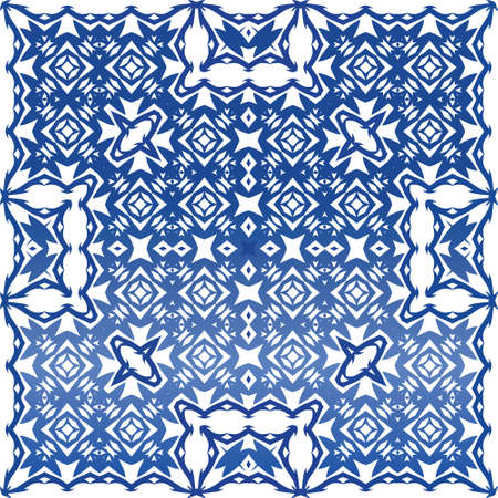 Ceramic tiles azulejo portugal. Vector seamless pattern arabesque. Creative design. Blue ethnic background for T-shirts, scrapbooking, linens, smartphone cases or bags. Illusztráció