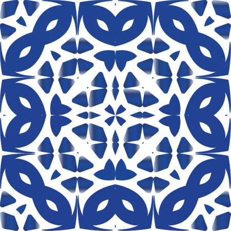 Ethnic ceramic tile in portuguese azulejo. Universal design. Vector seamless pattern arabesque. Blue vintage ornament for surface texture, towels, pillows, wallpaper, print, web background.