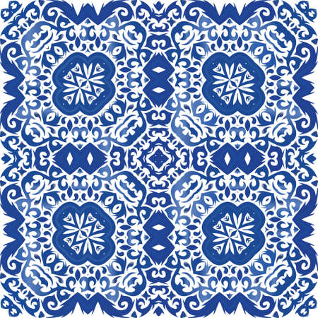 Traditional ornate portuguese azulejo. Universal design. Vector seamless pattern frame. Blue abstract background for web backdrop, print, pillows, surface texture, wallpaper, towels.