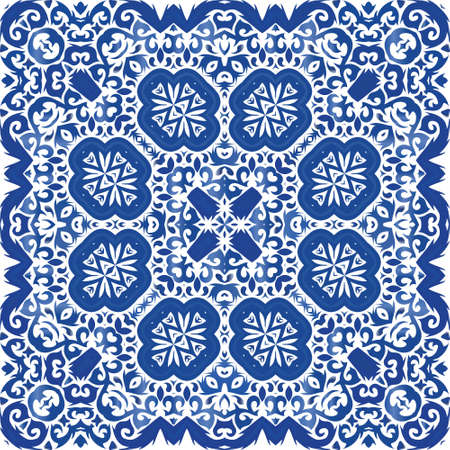 Ethnic ceramic tile in portuguese azulejo. Vector seamless pattern trellis. Creative design. Blue vintage ornament for surface texture, towels, pillows, wallpaper, print, web background. Illusztráció