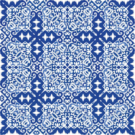 Portuguese vintage azulejo tiles. Kitchen design. Vector seamless pattern frame. Blue antique background for pillows, print, wallpaper, web backdrop, towels, surface texture.