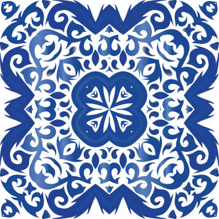 Traditional ornate portuguese azulejo. Fashionable design. Vector seamless pattern collage. Blue abstract background for web backdrop, print, pillows, surface texture, wallpaper, towels. Illusztráció