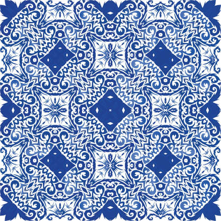 Ornamental azulejo portugal tiles decor. Vector seamless pattern frame. Geometric design. Blue gorgeous flower folk print for linens, smartphone cases, scrapbooking, bags or T-shirts.