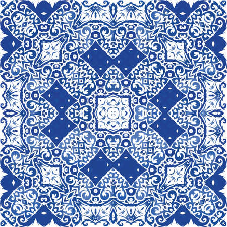 Antique portuguese azulejo ceramic. Vector seamless pattern collage. Modern design. Blue floral and abstract decor for scrapbooking, smartphone cases, T-shirts, bags or linens.