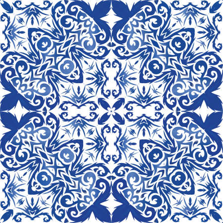 Ceramic tiles azulejo portugal. Modern design. Vector seamless pattern texture. Blue ethnic background for T-shirts, scrapbooking, linens, smartphone cases or bags. Illusztráció
