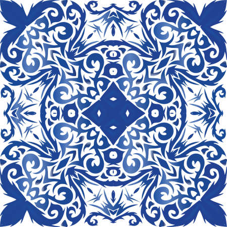Portuguese vintage azulejo tiles. Vector seamless pattern watercolor. Kitchen design. Blue antique background for pillows, print, wallpaper, web backdrop, towels, surface texture. Illusztráció