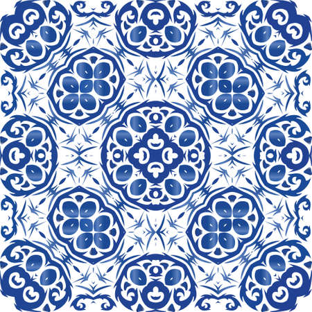 Antique portuguese azulejo ceramic. Vector seamless pattern illustration. Bathroom design. Blue floral and abstract decor for scrapbooking, smartphone cases, T-shirts, bags or linens. Illusztráció