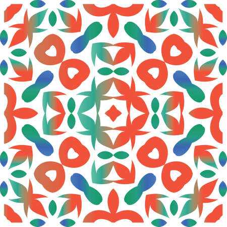 Antique ornate tiles talavera mexico. Geometric design. Vector seamless pattern poster. Red ethnic background for T-shirts, scrapbooking, linens, smartphone cases or bags.