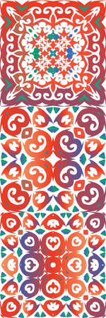 Antique ornate tiles talavera mexico. Creative design. Set of vector seamless patterns. Red ethnic backgrounds for T-shirts, scrapbooking, linens, smartphone cases or bags. Illustration