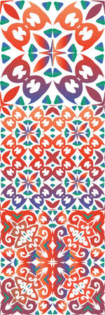 Ethnic ceramic tiles in mexican talavera. Colored design. Collection of vector seamless patterns. Red vintage ornaments for surface texture, towels, pillows, wallpaper, print, web background.